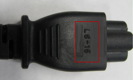 Netzteilkabel mit der Markierung LS-15